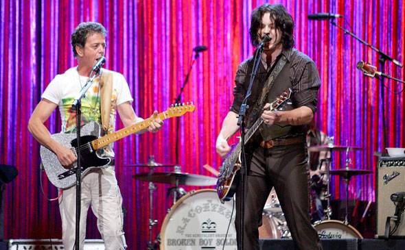 Lou Reed and Raconteurs' Jack White perform on stage during the 2006 MTV Video Music Awards in New York.