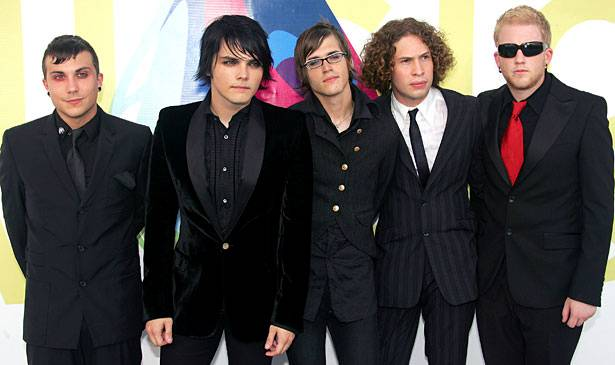 Welcome to the Black Parade!  The guys from My Chemical Romance rock their snazzy black suits at the 2005 VMAs.