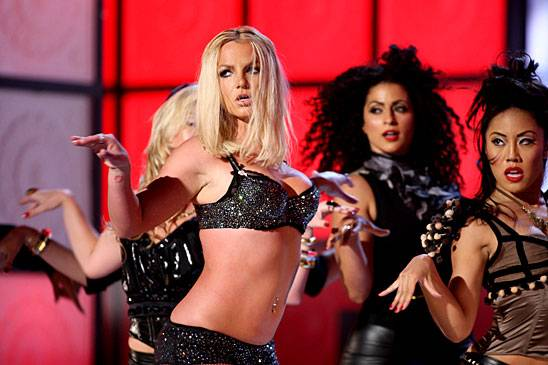 """Britney Spears performs """"Gimme More"""" on stage during the 2007 MTV Video Music Awards in Las Vegas."""