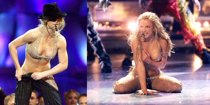 """Britney Spears performs """"Satisfaction"""" and """"Oops!...I Did It Again"""" at the 2000 MTV Video Music Awards in New York City."""
