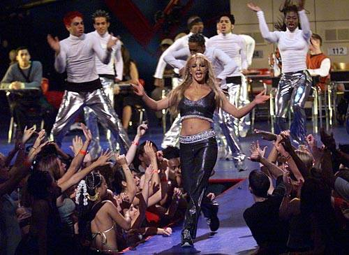 """Britney Spears performs """"Baby One More Time"""" at the 1999 MTV Video Music Awards in New York City."""