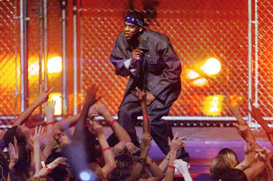 """Jay-Z performs """"Jigga"""", """"Can I Get A..."""" and """"Hard Knock Life"""" at the 1999 MTV Video Music Awards in New York City."""