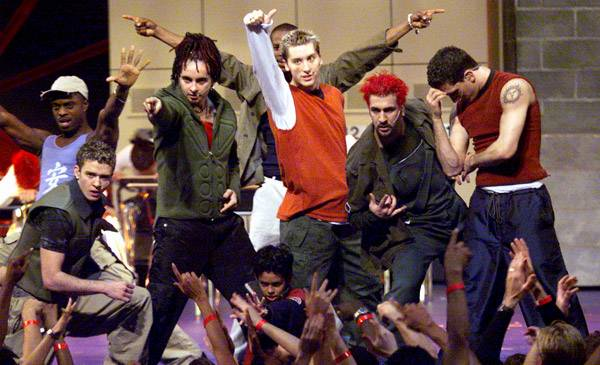 """'NSYNC perform """"Tearin' Up My Heart"""" at the 1999 MTV Video Music Awards in New York City."""