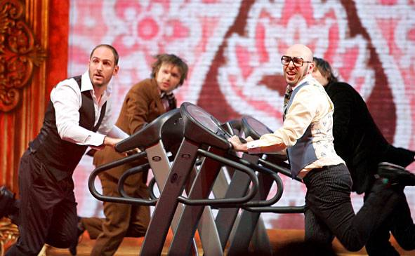 """OK Go perform """"Here It Goes Again"""" at the 2006 MTV Video Music Awards in New York City."""