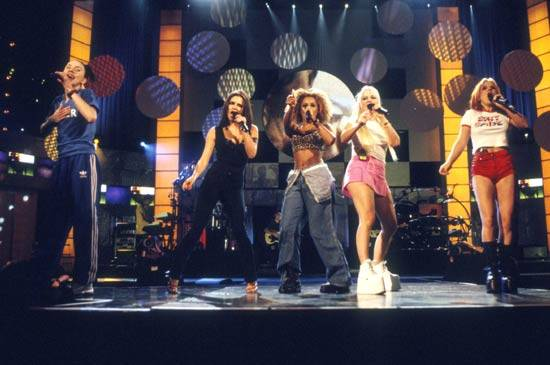 """The Spice Girls perform """"Say You'll Be There"""" at the 1997 MTV Video Music Awards in New York City."""