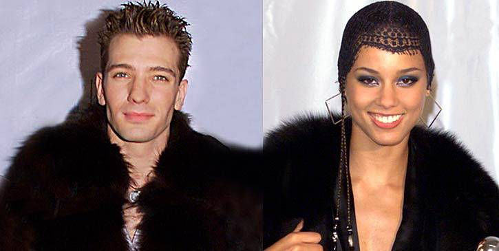 These two are so cool, they're cold. JC Chasez rocks a fur jacket at the 2000 MTV Video Music Awards, as does Alicia Keys the following year.