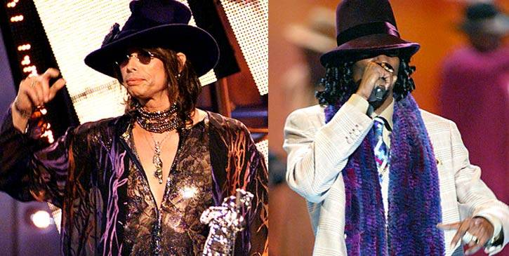 Aerosmith's Steven Tyler is big pimping at the 2000 MTV Video Music Awards. Not to be out done, Snoop Dogg hits the 2003 VMA stage looking dapper in his own wide-brimmed fedora and scarf.