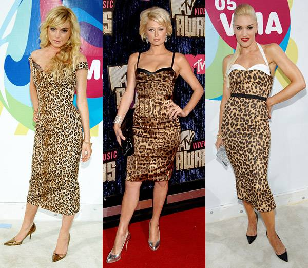 The VMAs can get a little wild. Paris Hilton brings the jungle back in 2007 after Lindsay Lohan and Gwen Stefani rock the 2005 red carpet in fierce leopard-print.