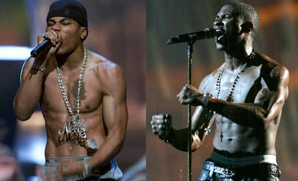 Showing skin never goes out of style at the VMAs. Just ask Nelly, sans top in 2000, and a bare-chested Usher in 2005. It's getting hot in herre!