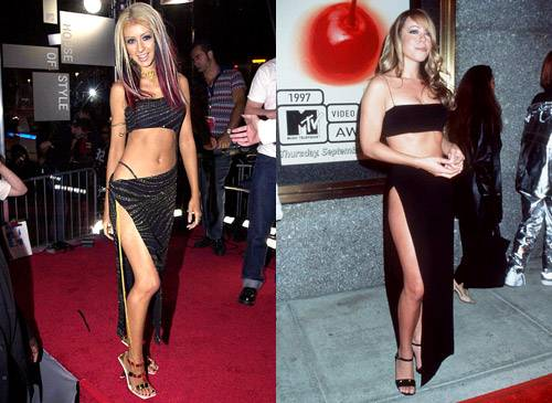 First people compared the powerhouse pipes of Christina Aguilera and Mariah Carey, now their wardrobes. Mariah debuts this midriff-baring outfit in 1997, and X-Tina vamps up her barely-there creation in 2000.