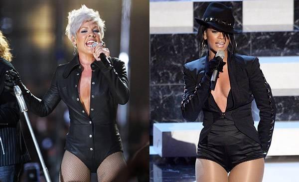 Rihanna shares more than just umbrellas. Both pop princesses rock long sleeve leotards for their 2007 and 2008 VMA performances.