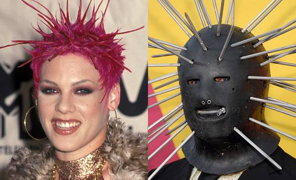 It looks like Slipknot's Craig Jones got the inspiration for his 2008 VMA attire from Pink's spiky hairdo in 2000.
