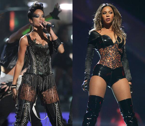 Déjà vu! Pop superstars Rihanna and Beyonce seem to be fans of leather corsets and thigh-high boots. Beyoncé wears her's at the 2003 VMAs while Rihanna dons her dominatrix gear in 2008.