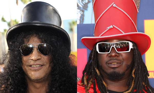 Both R&amp;B singer T-Pain <i>and</i> rock legend Slash top their iconic hair-dos with formal head gear at the 2008 MTV Video Music Awards. Classy.