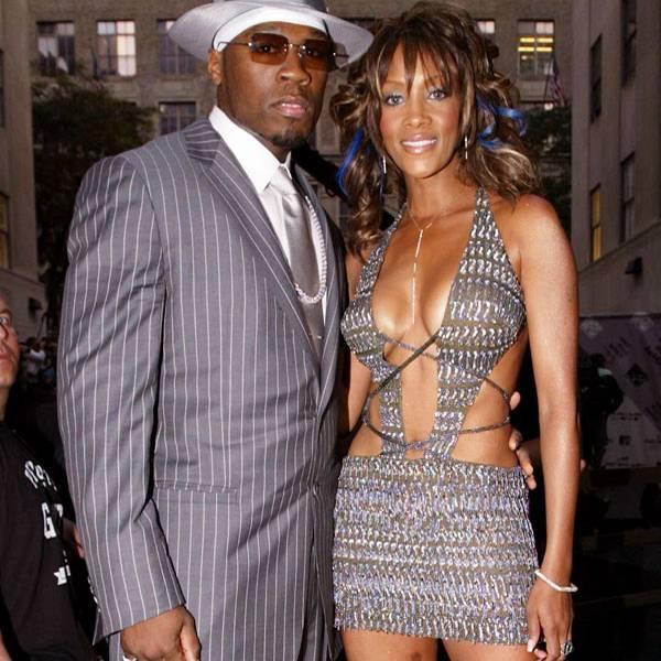 08.28.2003, New York City, NY: Vivica A. Fox keeps 50 Cent's attention at the 2003 MTV VMAs.