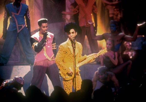 """Prince and The New Power Generation perform """"Gett Off"""" at the 1991 MTV Video Music Awards in Los Angeles."""