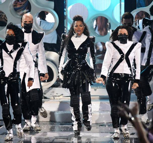 Janet Jackson pays tribute to her brother Michael Jackson on stage at the 2009 MTV Video Music Awards in New York City.