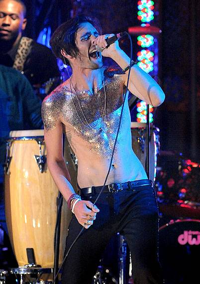 """Tyson Ritter of All-American Rejects performs """"Give You Hell"""" on stage at Radio City Music Hall at the 2009 MTV Video Music Awards."""