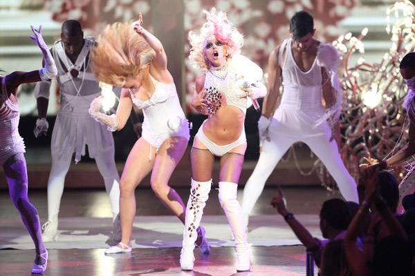 09.13.2009, New York City, NY: During her 2009 VMA performance, Lady Gaga kept her legs covered in thigh high boots, so it was only natural that she compensated by baring her bod in a bikini bottom and studded top.
