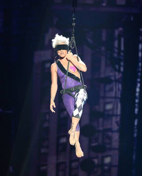 09.13.2009, New York City, NY: P!nk wears her heart on her....breast?  That was the case during her 2009 VMA performance.
