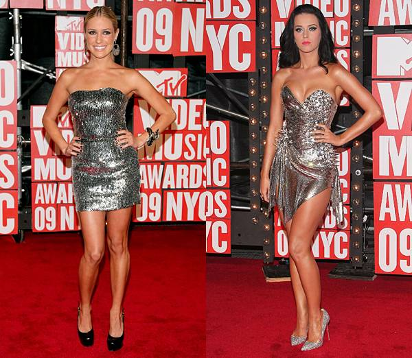 West Coast cuties Kristin Cavallari and Katy Perry ditch their beachy ensembles for similar strapless silver sequin dresses at the 2009 VMAs.