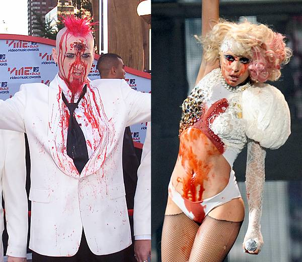 Chad Gray from Mudvayne and Lady Gaga sport an unusual accessory at the 2001 and 2009 VMAs -- blood. Don't worry, no one was harmed in the process.