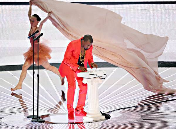 """Kanye West performs """"Runaway"""" on stage during the 2010 MTV Video Music Awards in Los Angeles."""