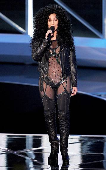 9.12.2010, Los Angeles, CA: Cher manages to 'Turn Back Time' as she rocks a see-through jumpsuit straight from the '80s.