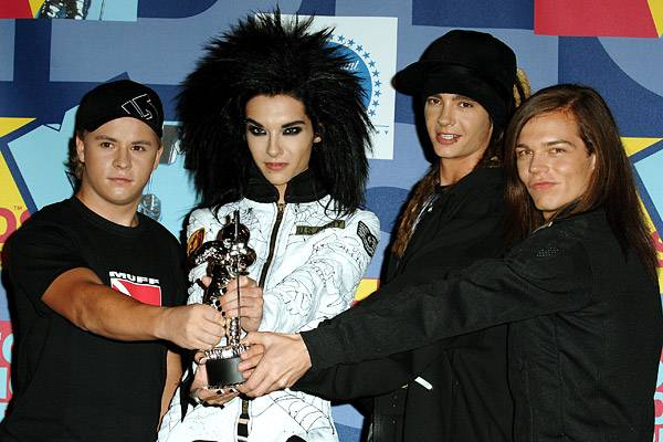 2008 Best New Artist winners Tokio Hotel celebrate the Moonman they won for their break-out hit, 'Ready, Set, Go!'