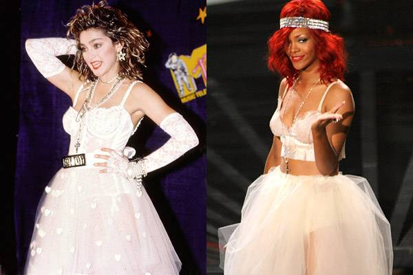 Madonna shocks the crowd at the 1984 VMAs with a punk-inspired wedding look. In 2010, almost three decades later, Rihanna pays homage.