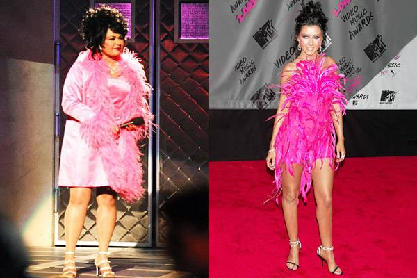 Taking note from Roseanne Barr's pretty-in-pink feather dress at the 1994 VMAs, Christina Aguilera wraps herself in a similar get up made almost entirely of bright pink feathers in 2003.