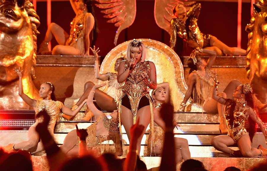 Nicki Minaj proves she is the Queen with her show stopping performance of hits from her latest album on stage at the Oculus in New York City at the 2018 VMAs.