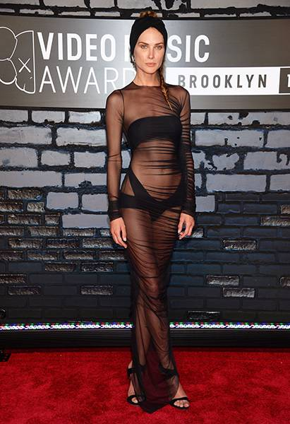Erin Wasson shows off her enviable figure in a gauzy see-through gown on the red carpet at the 2013 Video Music Awards.