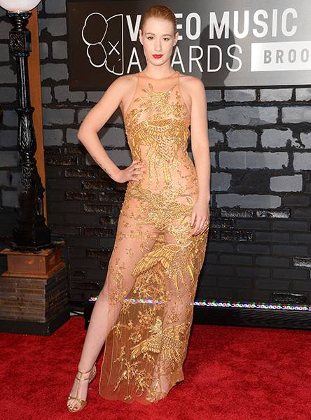 All eyes are on Iggy Azalea as she wows in an intricately bedazzled see-through dress on the red carpet at the 2013 Video Music Awards.