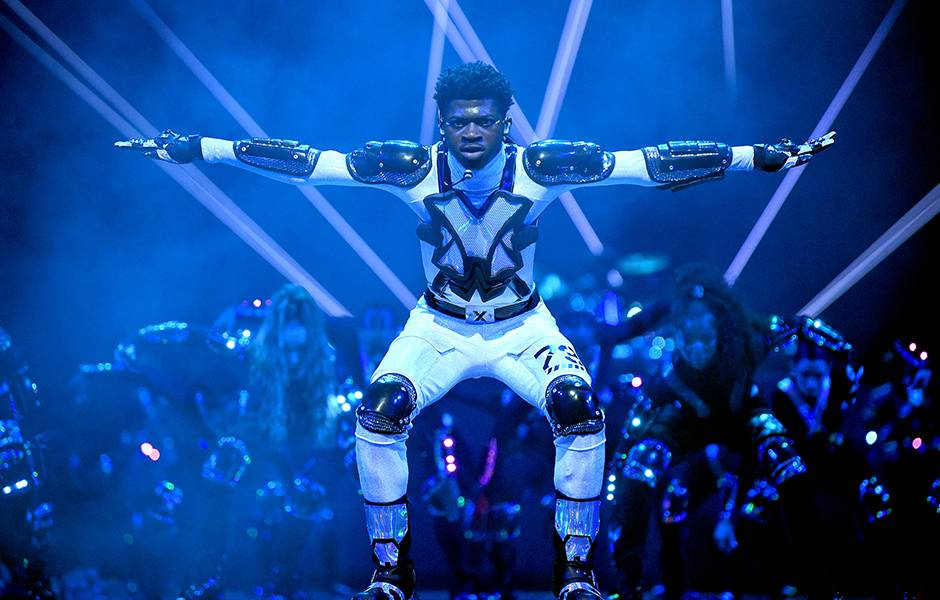 "Lil Nas X performs ""Panini"" onstage at the 2019 VMAs."