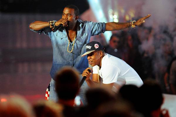 """Kanye West and Jay-Z perform """"Otis"""" on stage at the 2011 MTV Video Music Awards in Los Angeles."""