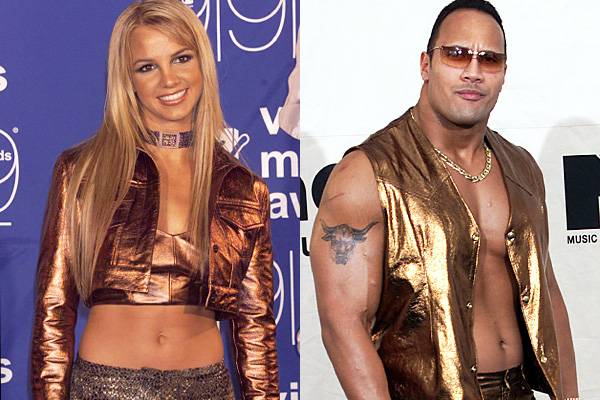 Britney Spears pioneered the belly baring, bronze look at the 1999 VMAs. Dwayne 'The Rock' Johnson quickly follows suit in 2000 with a gold getup of his very own.