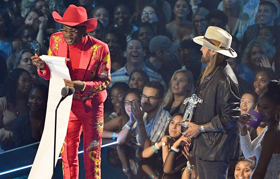 Lil Nas X accepts his VMA for Song of the Year.