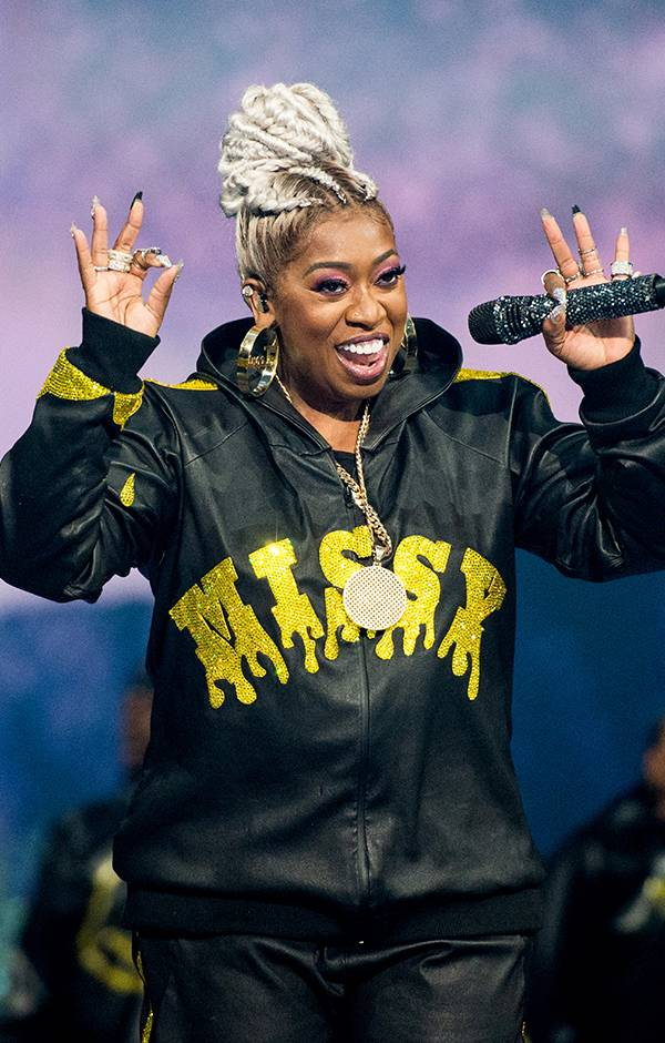 Missy Elliott is giving some serious 90s vibes in her bedazzled tracksuit.
