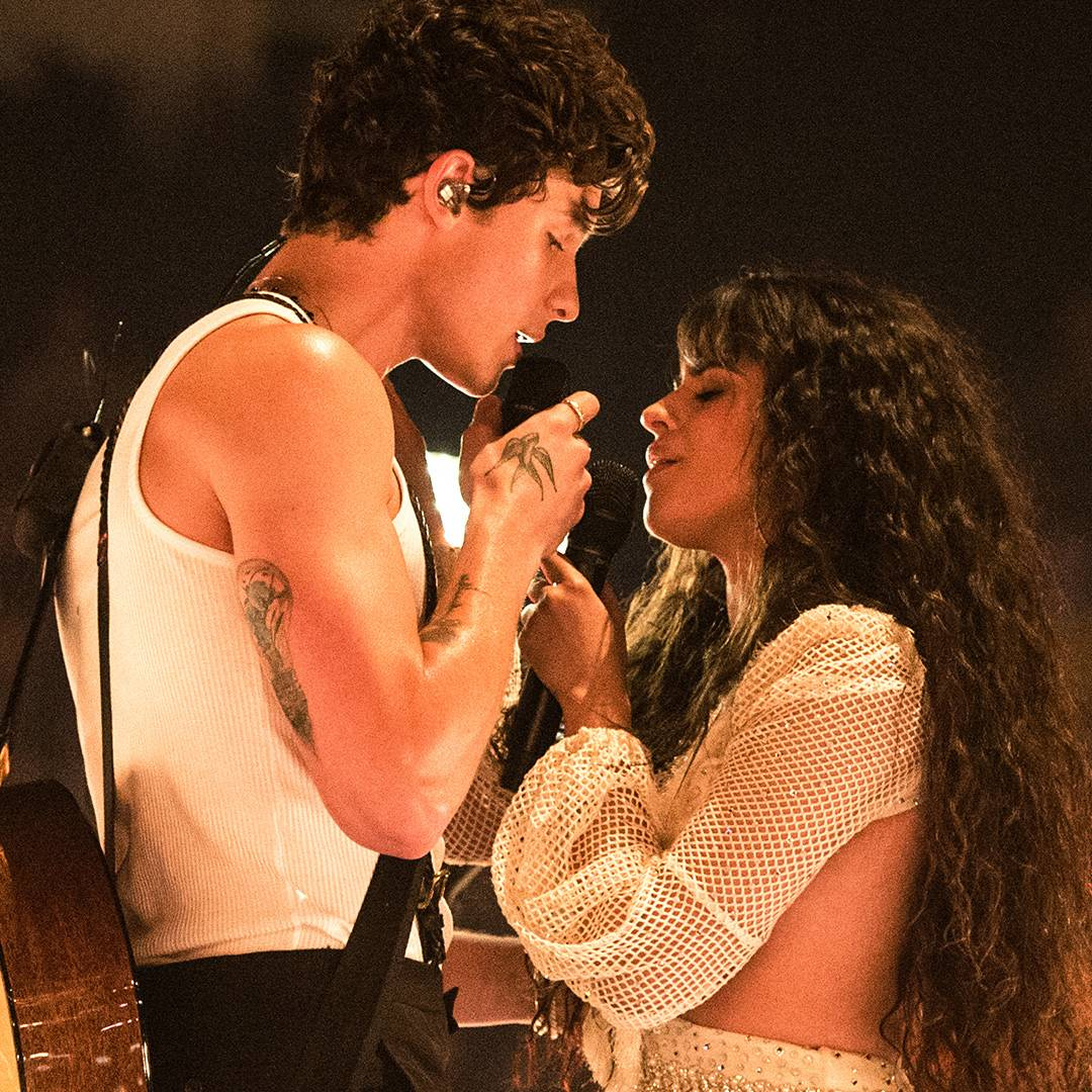 """During a steamy performance of """"Senorita,"""" Camila Cabello and Shawn Mendes get very close."""