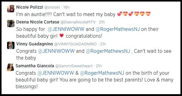 so happy for jenniwoww and rogermathewsnj on their beautiful baby girl congratulations sammi giancola wrote while nicole polizzi tweeted im an