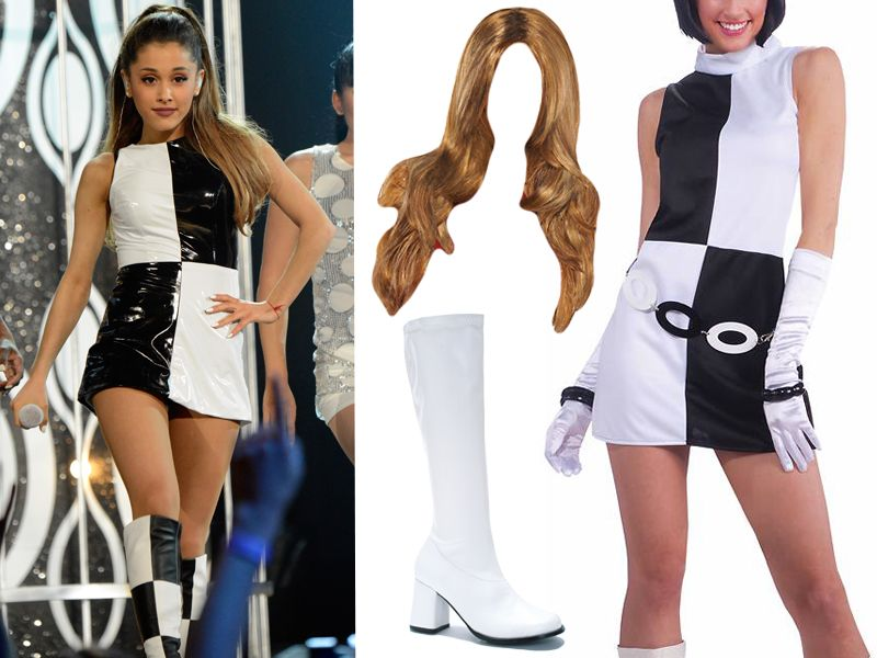 This pre-packaged u002760s mod costume is almost an exact match for Arianau0027s 2014 Billboard Awards performance outfit. Wear it with a light brown wig tied up ...  sc 1 st  MTV.com & Here Are 2 Extremely Easy Ariana Grande Halloween Costume Ideas - MTV