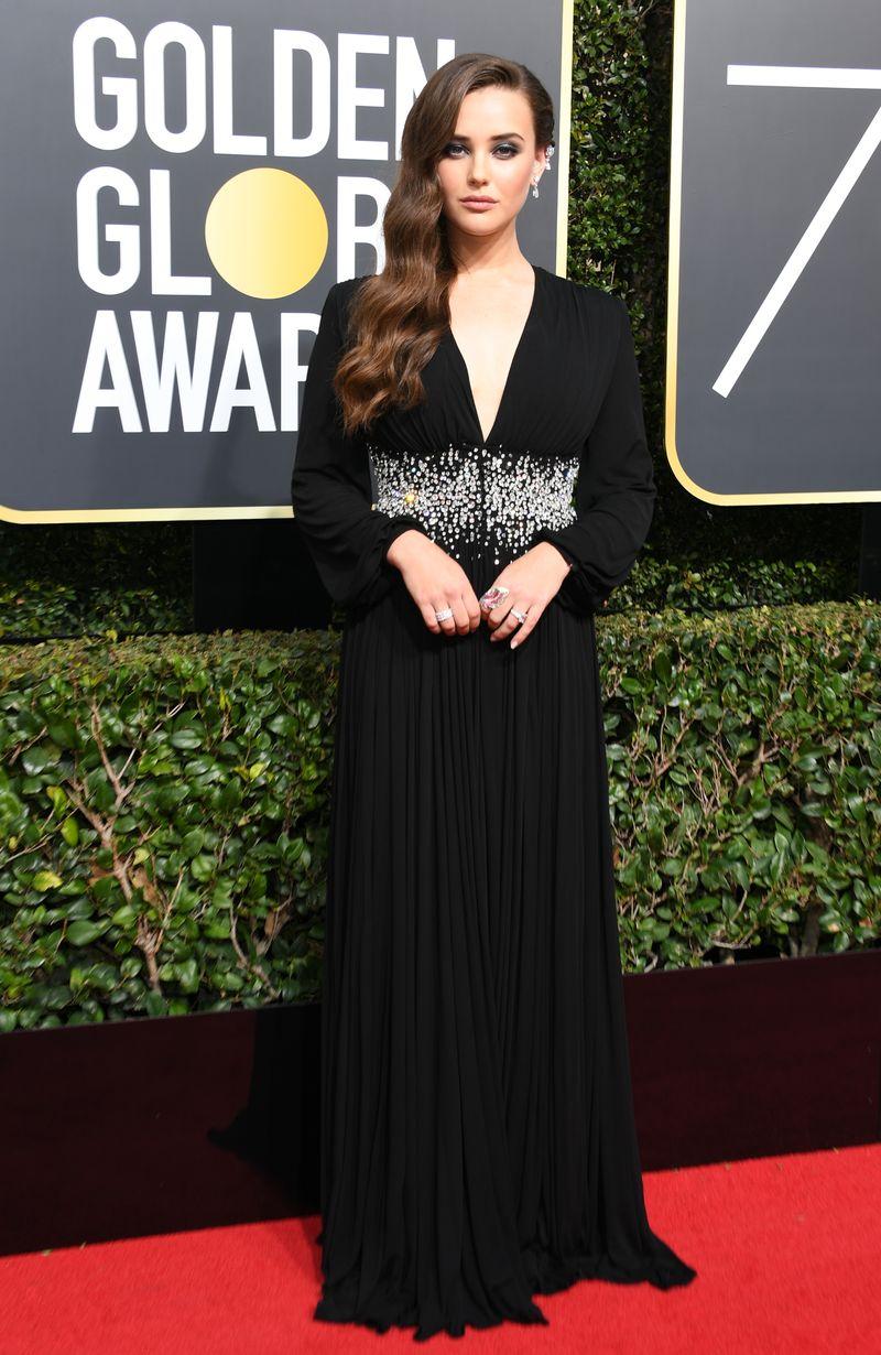 Katherine Langford's Golden Globes Red Carpet Debut Gives Old Hollywood A  Dark Edge